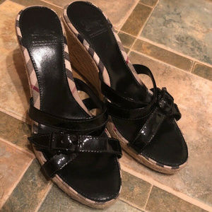Burberry Cork Summer Wedge Sandals Size 6.5